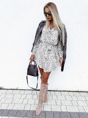 Sukienka beżowa w cętki z paskiem Xana