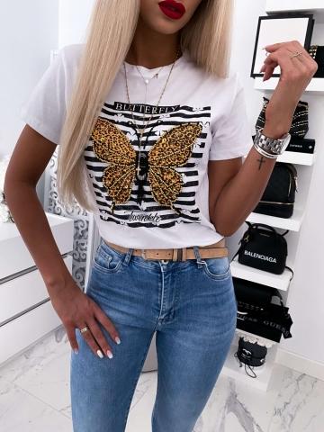 Biały T-shirt Butterfly