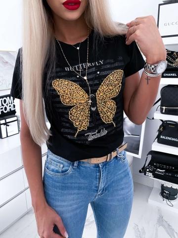 Czarny T-shirt Butterfly