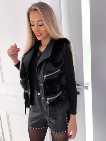 Czarna kamizelka futrzak Luxury Style