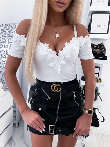 Biała damska bluzka z koronką Inez