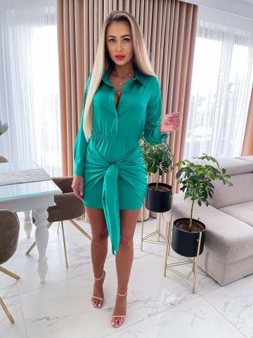Zielona koszulowa sukienka z wiązaniem Belluci