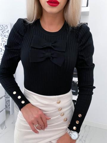 Czarny sweterek z kokardą