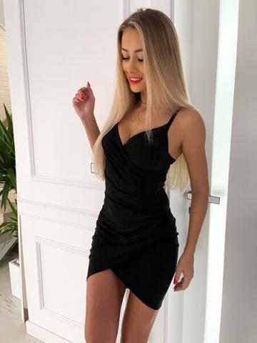 Czarna brokatowa sukienka na ramiączkach