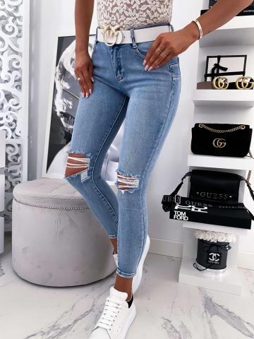 Spodnie Jeans z przetarciami Push-Up