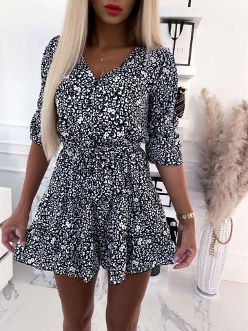 Sukienka czarna w białe kwiatki z paskiem Xana