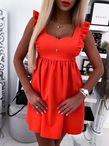 Sukienka pomarańczowa Wings z falbanką