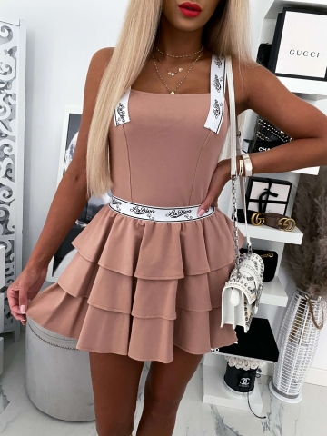 Beżowy komplet La Diva Top+Spódnica