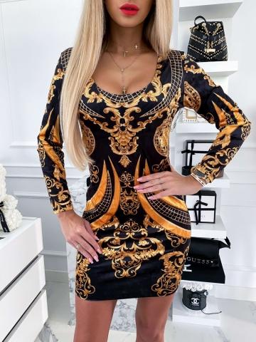 Czarna sukienka welurowa złoty wzór