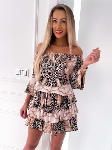 Sukienka hiszpanka Zebra Gold