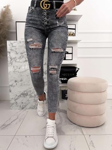 Szare spodnie z dziurami Push-Up guziki
