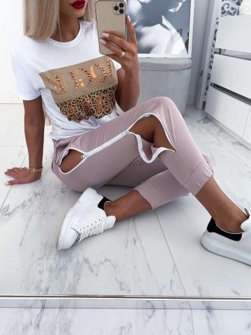 Spodnie beżowe z zameczkami Lisa