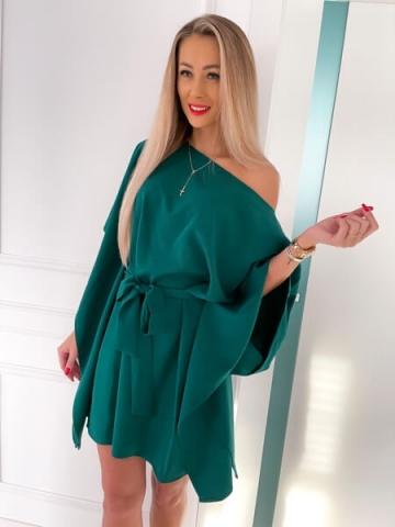 Zielona Sukienka Butterfly z paskiem