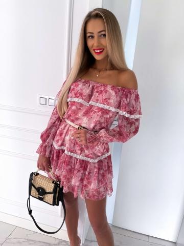 Sukienka hiszpanka różowa w kwiaty Roco