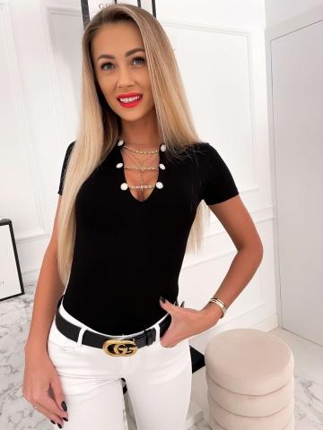 Czarna bluzka z krótkim rękawem łańcuchy