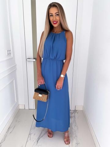 Długa niebieska sukienka z rozcięciem Etna