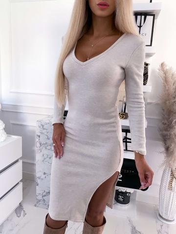 Beżowa sukienka sweterkowa LaLu