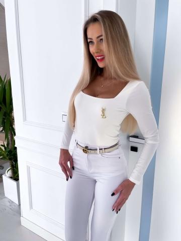 Kremowa bluzka z długim rękawem Villa
