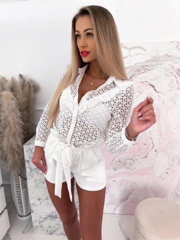 Biała ażurowa koszula Chira