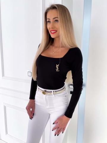 Czarna bluzka z długim rękawem Villa
