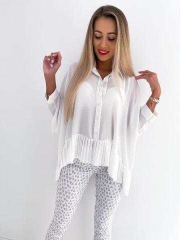 Biała koszula damska z rękawami typu nietoperz