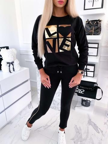 Czarny komplet dresowy Bluza+spodnie Love
