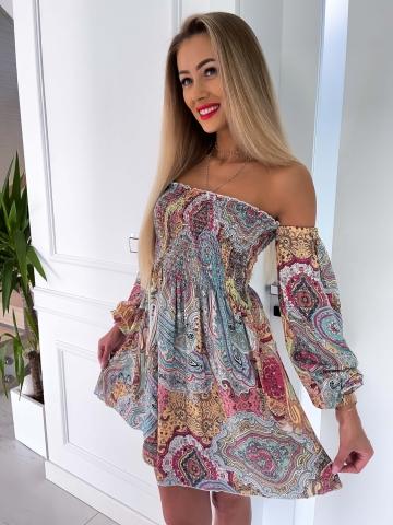 Sukienka Hiszpanka z długim rękawem Etno