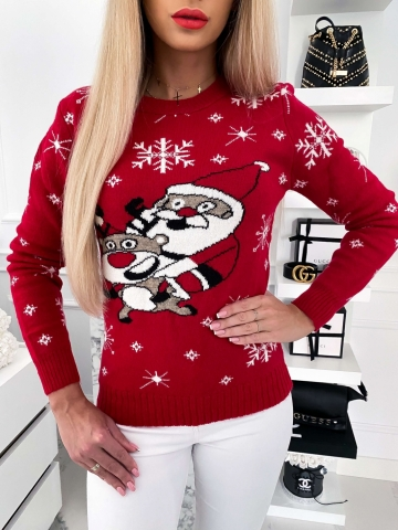 Czerwony sweter świąteczny z mikołajem