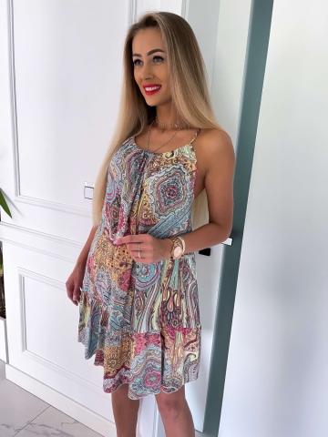 Krótka letnia sukienka Etno