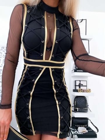 Czarna sukienka NINA złote wstawki
