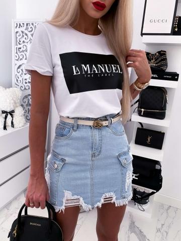 Kremowy T-shirt La Manuel