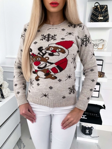 Beżowy sweter świąteczny z mikołajem