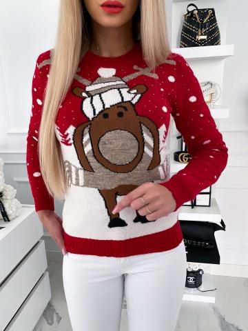 Czerwony świąteczny sweter z Rudolfem