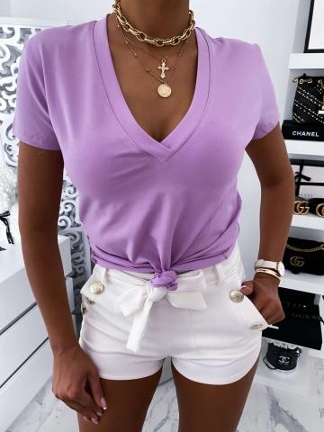 Liliowa bluzka z krótkim rękawem