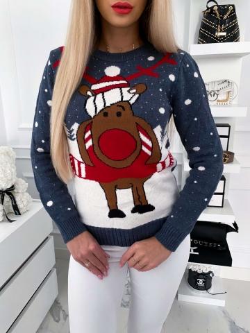 Szary świąteczny sweter z Rudolfem