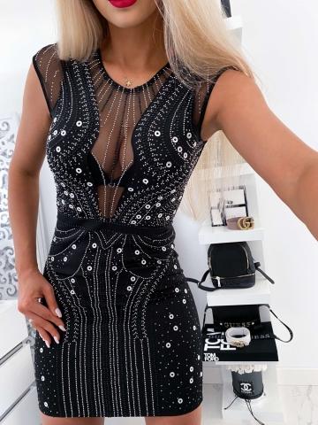 Czarna sukienka z dżetami Claudia