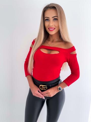 Czerwona bluzka łezka Fame