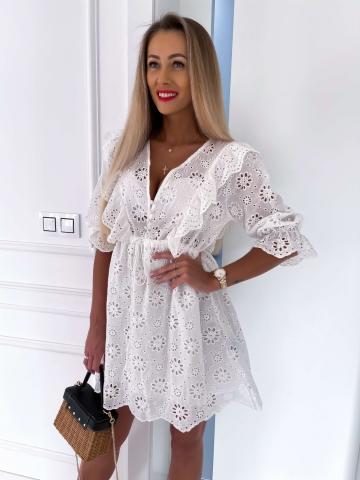 Biała ażurowa sukienka Boho