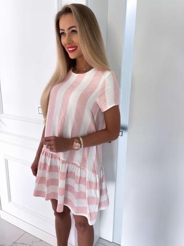Letnia sukienka różowo-biała w paski
