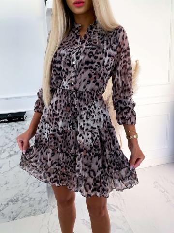 Sukienka panterka z falbankami