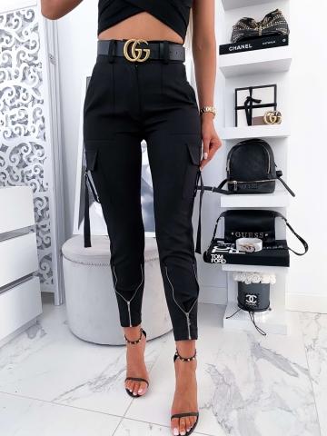 Eleganckie czarne spodnie z zameczkami Viki