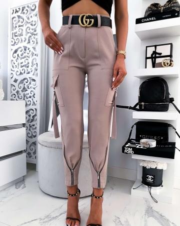 Eleganckie beżowe spodnie z zameczkami Viki