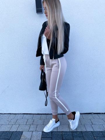 Beżowe spodnie z lampasem LaLu