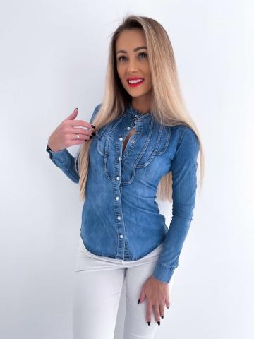 Damska koszula Jeans ze stójką