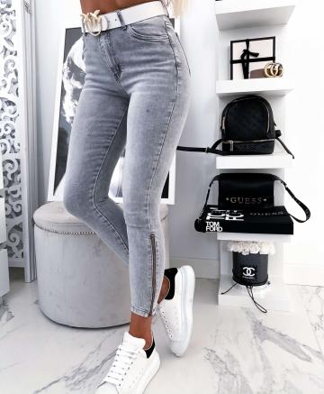 Szare spodnie Zip