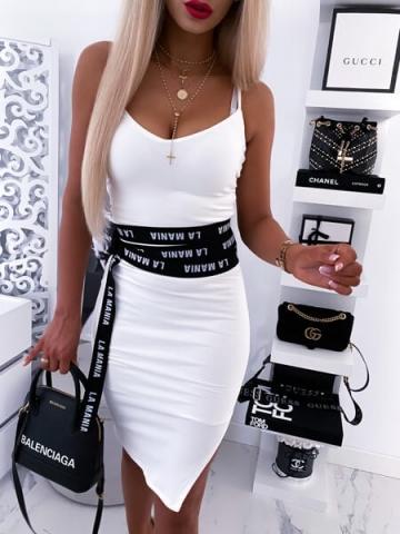 Biała Sukienka na ramiączkach z rozcięciem