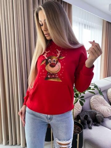 Czerwona ciepła bluza z kapturem Renifer