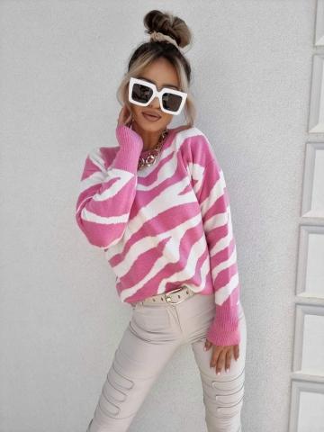 Kaszmirowy sweter różowo biały By Me