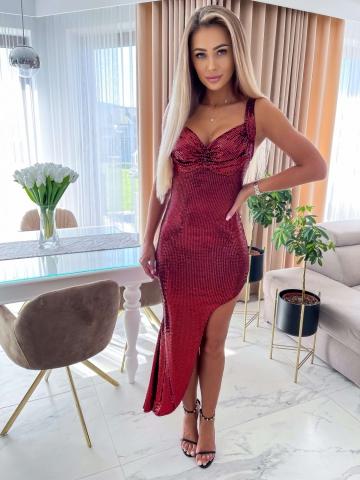 Bordowa sukienka asymetryczna Roxy