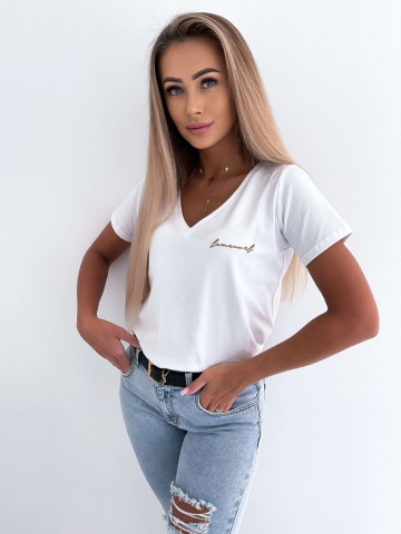 Biały T-shirt z wszywanym logo La Manuel